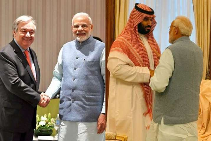G20: PM Modi meets Saudi Crown Prince Mohammed bin Salman and UN Secretary General- India TV