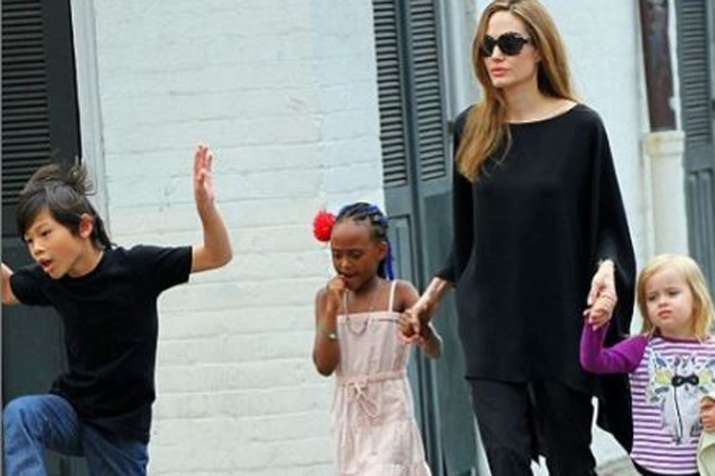 Angelina Jolie with her kids- India TV