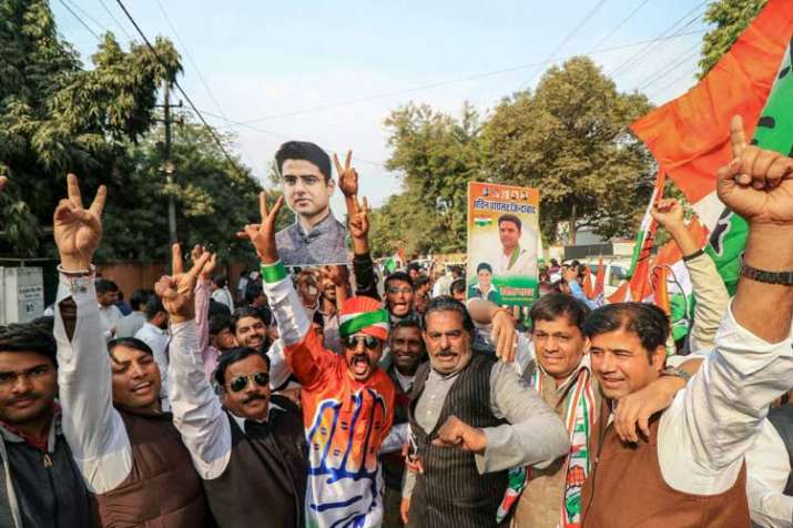 Congress workers and supporters celebrate the party's...- India TV