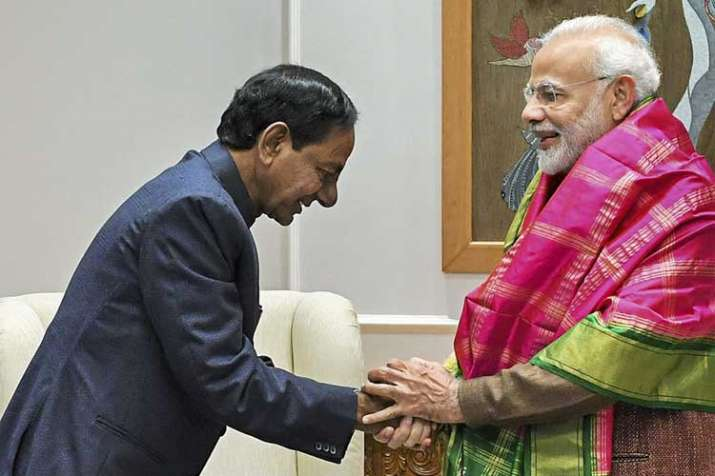 Prime Minister Narendra Modi being greeted by Telangana...- India TV