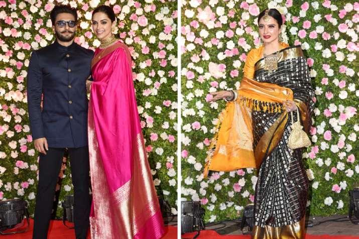 Deepika and Rekha in Kapila sharma and Ginni Wedding Reception- India TV