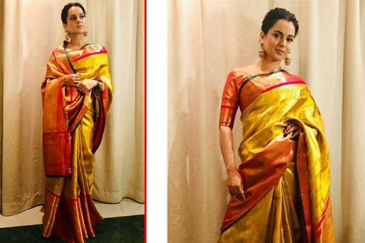 kangana ranauty golden saree cost- India TV
