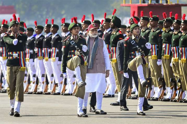 Prime Minister Narendra Modi inspects guard of honour at the Prime Minister's NCC Rally in New Delhi- India TV