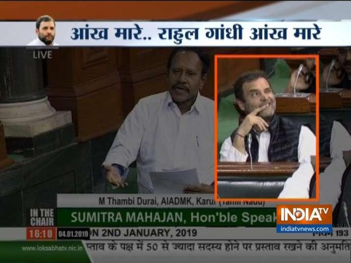 Rahul Gandhi again winks in parliament during Rafale debate- India TV
