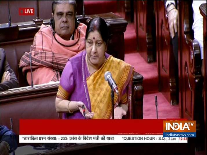 Congress walkout from Rajya Sabha after Sushma Swaraj Statement on Rafale- India TV