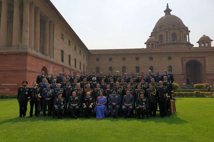 Defence minister Nirmala Sitharaman with the Defence...- India TV