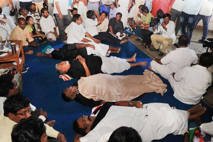 Puducherry Chief Minister V Narayanasamy with his...- India TV