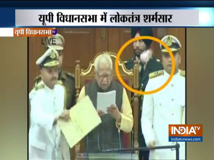 SP members throws paper on Governor Ram Naik in Uttar Pradesh Assembly- India TV
