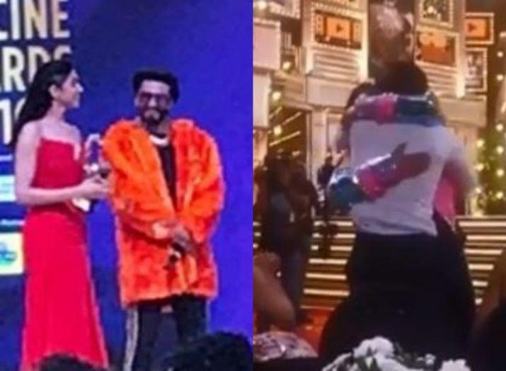 Ranveer Singh hugs wife Deepika Padukone and Ranbir Kapoor- India TV