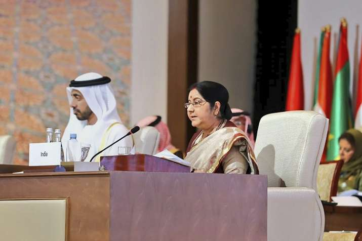 External Affairs Minister Sushma Swaraj addresses as...- India TV