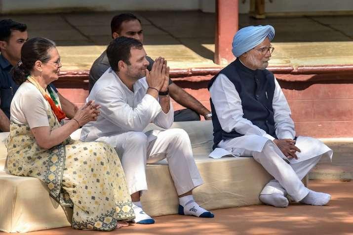 Congress President Rahul Gandhi with senior party...- India TV
