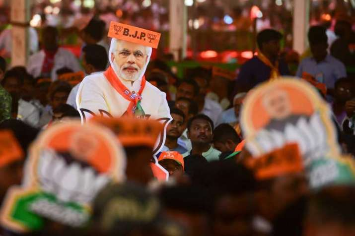 BJP supporters during an election rally by Prime...- India TV