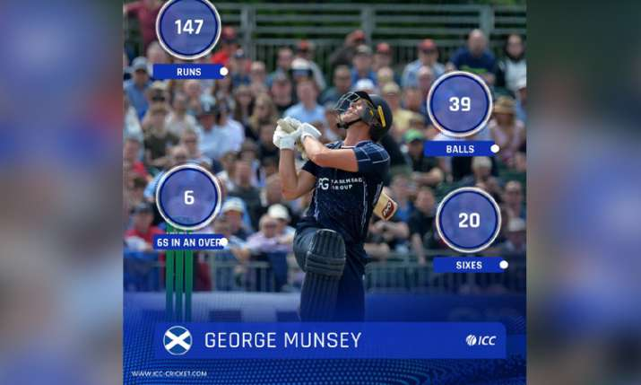 Scotland batsman George Munsey hit 25 ball hundred in t20 match put his team total above 300- India TV