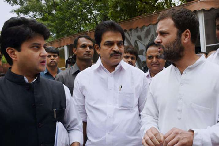 Jyotiraditya Scindia, K.C. Venugopal and Rahul Gandhi | PTI File- India TV