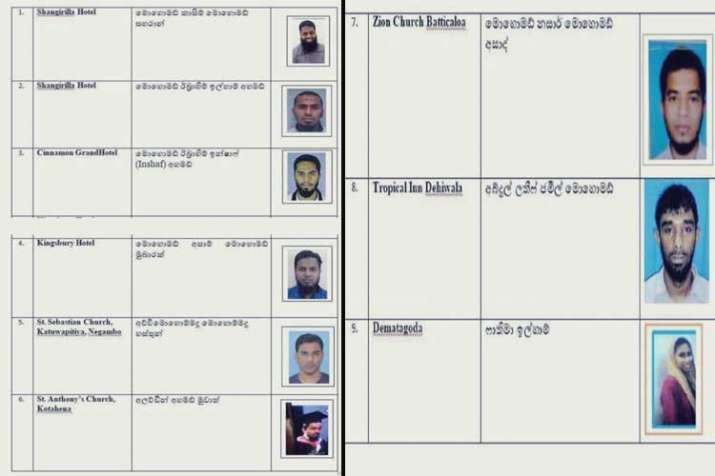 Srilankan police release names and pictures of 9...- India TV