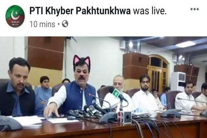 Pak minister accidently shown with cat ears, whiskers on...- India TV