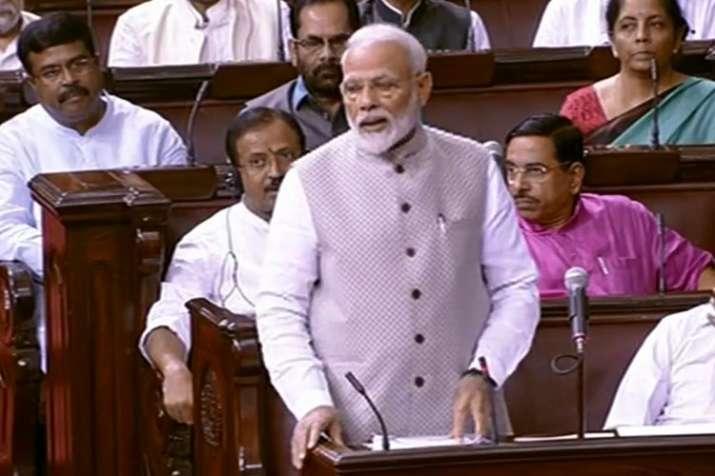 राज्यसभा में प्रधानमंत्री नरेंद्र मोदी।- India TV