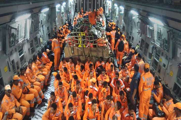 NDRF members seen inside the IAF C-17 aircraft as it...- India TV