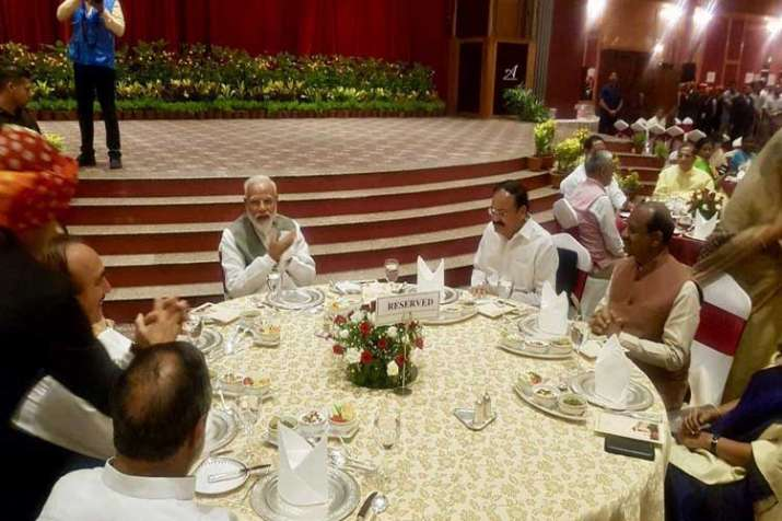 Prime Minister Narendra Modi today hosted a dinner for...- India TV