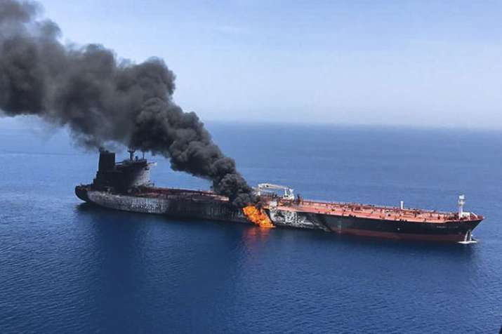 An oil tanker is on fire in the sea of Oman | AP- India TV