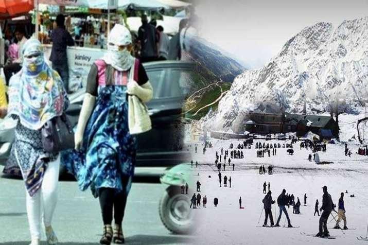 दिल्ली में आसमान से बरस रही आग, पहाड़ों पर बर्फबारी- India TV