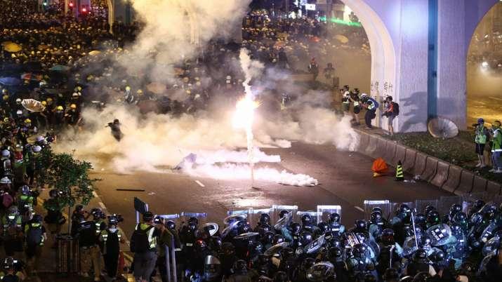 Hong Kong protesters daubed Egg at China Office- India TV