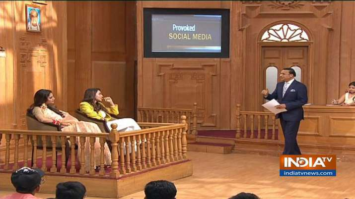 Trinamool actor-turned-MPs Nusrat Jahan and Mimi Chakraborty in 'Aap Ki Adalat' show- India TV