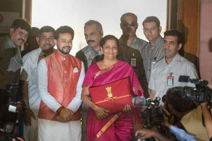 Finance Minister Nirmala Sitharaman with MoS Anurag...- India TV Paisa