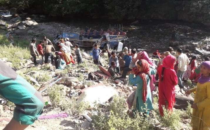 Image result for जम्मू के किश्तवाड़ में बस खाई में गिरी, 35 लोगों की मौत