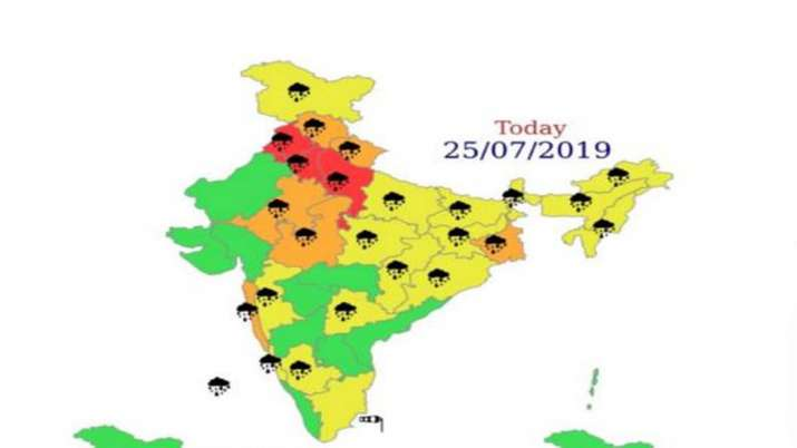 Delhi NCR Punjab Haryana weather monsoon forecast red alert