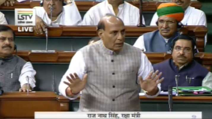 Defense Minister Rajnath Singh's Statement on Kashmir issue in Lok Sabha - India TV