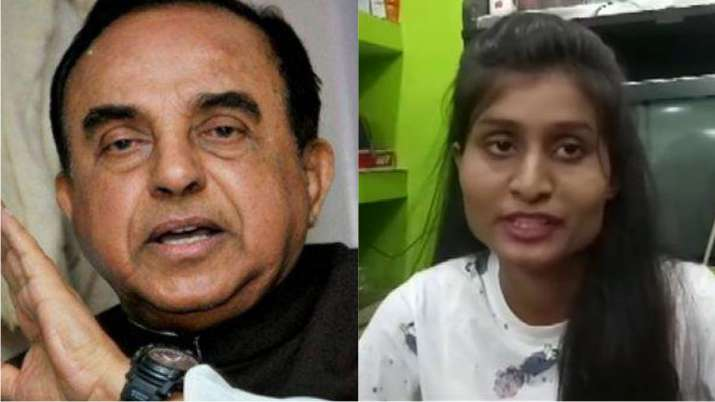 Subramanian Swamy and Richa Bharti | PTI/ANI- India TV