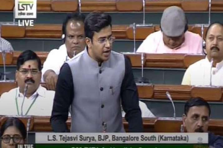 BJP MP Tejasvi Surya in Lok Sabha | Lok Sabha TV- India TV