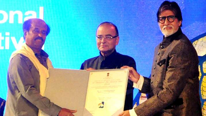 Amitabh Bachchan and Rajinikanth with Arun Jaitley - India TV