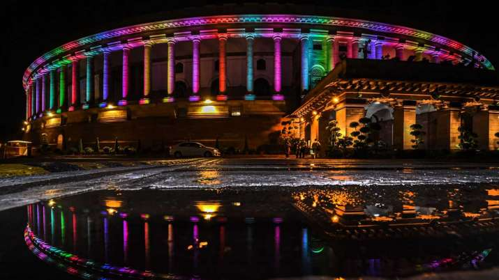 A view of illuminated Parliament- India TV