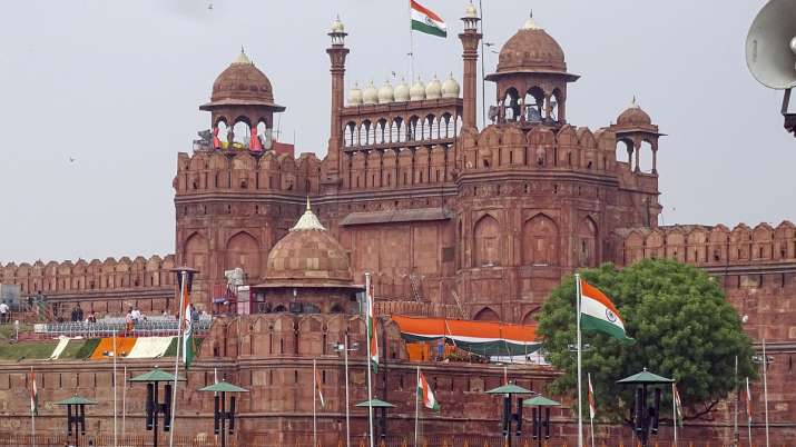 A view of the Red Fort on the eve of the 73rd Independence Day.- India TV