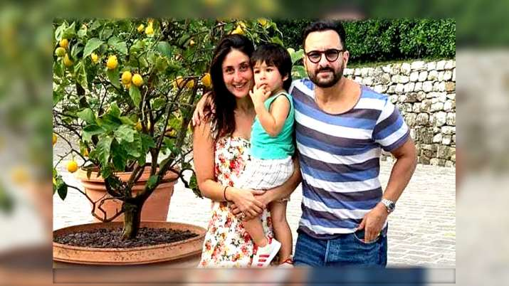 Saif Ali Khan with Kareena Kapoor and Taimur- India TV