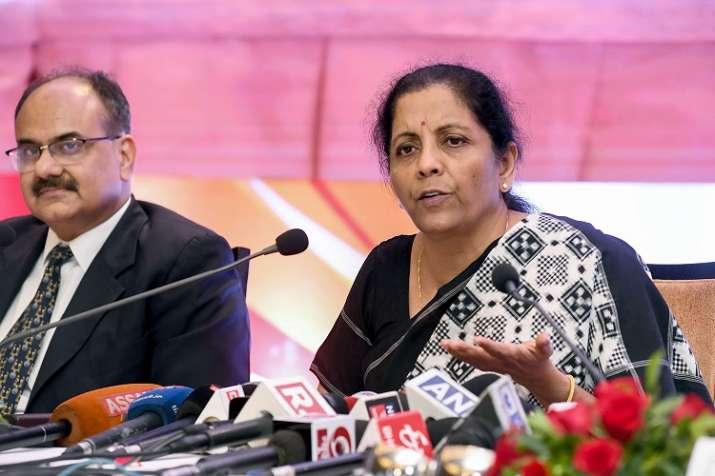 Union Finance Minister Nirmala Sitharaman addresses a press conference with Revenue Secretary Ajay B- India TV Paisa