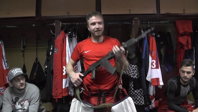 Saveli Kononov player Of Russian Goal Keeper gets AK 47 rifle on being made 'man of the match', watc- India TV
