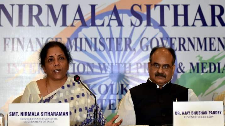 Union Finance Minister Nirmala Sitharaman with UIDAI CEO Ajay Bhushan Pandey during a press conferen- India TV Paisa