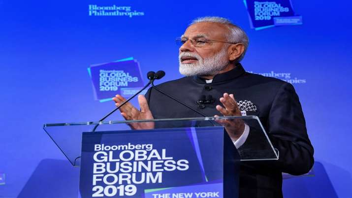 Prime Minister Narendra Modi speaks at Bloomberg Global Business Forum in New York on Wednesday- India TV Paisa