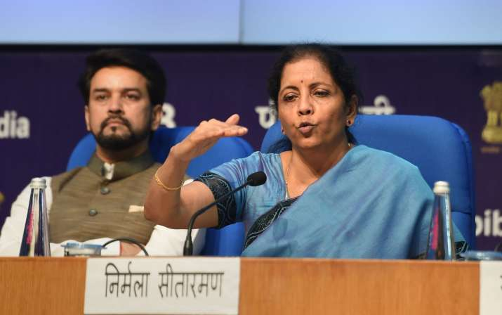 Finance Minister Nirmala Sitharaman speaks during a...- India TV