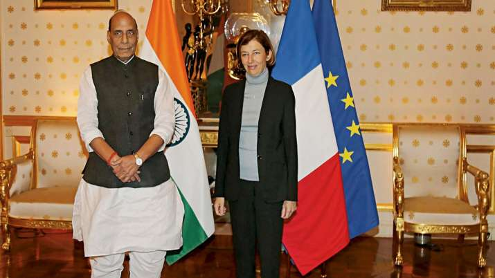 Union Defence Minister Rajnath Singh with his French counterpart Florence Parly in Paris.- India TV