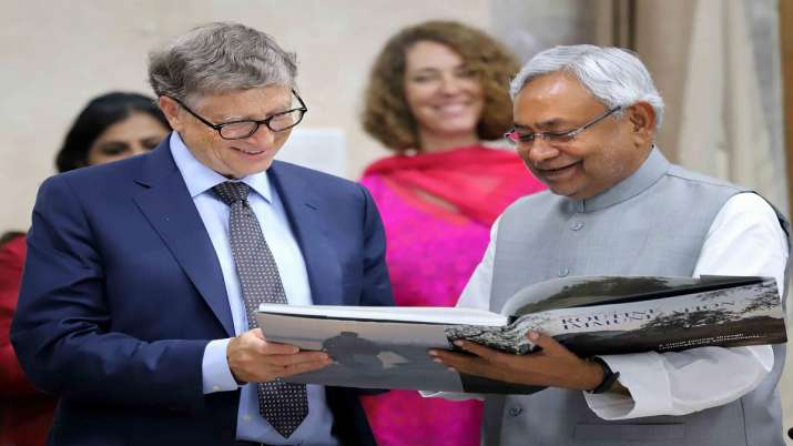 Bihar Chief Minister Nitish Kumar with Microsoft Corp. co-founder Bill Gates during a meeting, in Pa- India TV Paisa