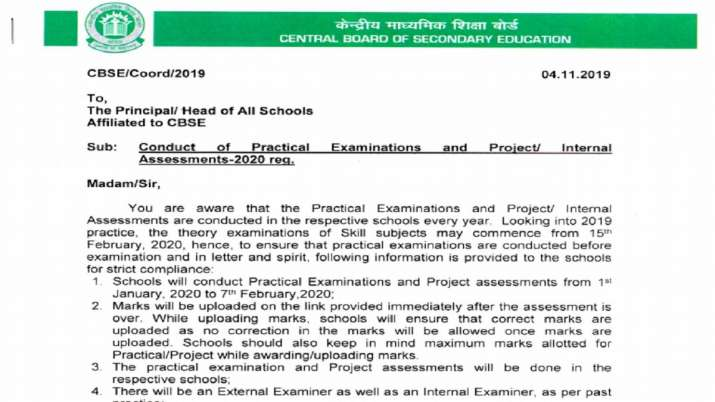 cbse released 10th 12th practical exam 2020 schedule- India TV