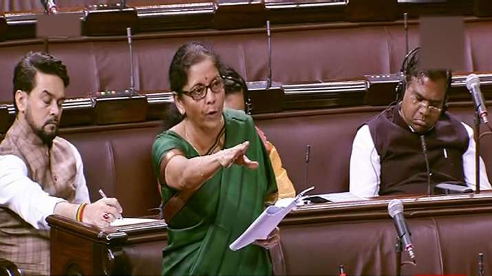 Union Finance Minister Nirmala Sitharaman speaks in the Rajya Sabha during Winter Session of Parliam- India TV Paisa