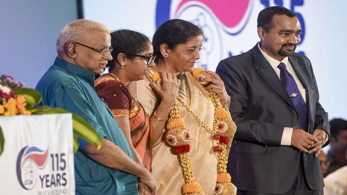 Finance Minister Nirmala Sitharaman being felicitatedi at the 116th Foundation Day celebrations of - India TV Paisa