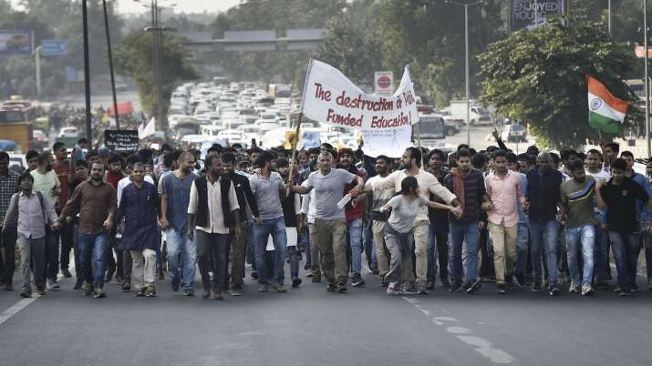 Jawaharlal Nehru University students during a protest- India TV