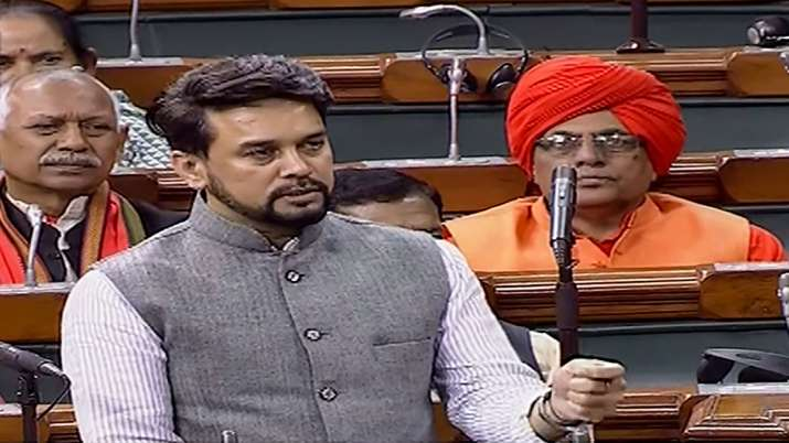 Minister of State for Finance and Corporate Affairs Anurag Singh Thakur speaks in the Lok Sabha duri- India TV Paisa