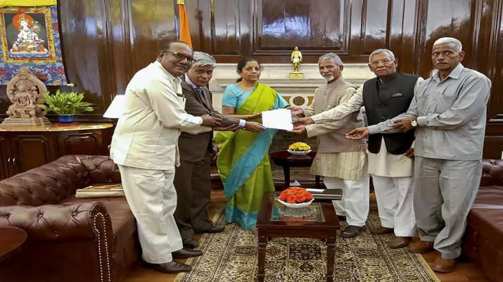Ex-paramilitary personnel meet Finance Minister Nirmala Sitharaman at her office in New Delhi on Fri- India TV Paisa